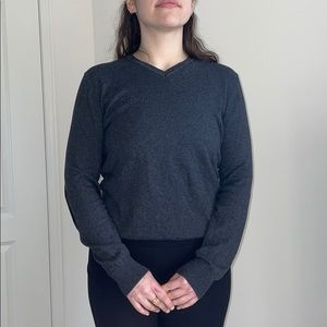 Gray V-neck Crew Sweater With Elbow Patches